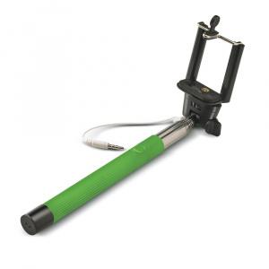 Selfie stick CELLY, spoušť přes 3,5mm jack, drážka proti protáčení, zelená