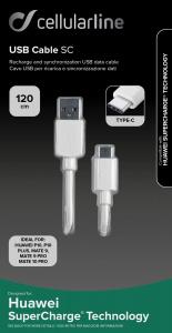 USB datový kabel Cellularline SC s USB-C konektorem, Huawei SuperCharge technologie, 120 cm, bílý