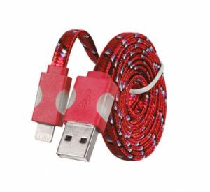 Datový kabel iPhone 5, 5S, 5C, 6, 6S, 6Plus, 7, 7Plus, 8, 8Plus, X - Svítící barva červená