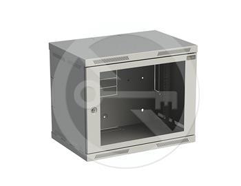 Rozvaděč nástěnný SENSA 9U 400mm, dveře sklo, RAL 7035, SENSA-9U-64-11-G