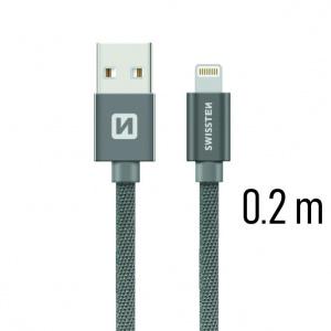 DATOVÝ KABEL SWISSTEN TEXTILE USB / LIGHTNING 0,2 M ŠEDÝ