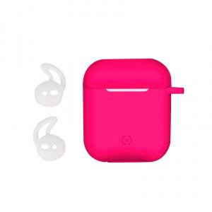 Ochranné pouzdro na sluchátka Airpod CELLY Aircase + sportovní nástavce do uší, fuchsiové