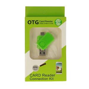 Čtečka microSD - výstup USB + micro USB barva zelená