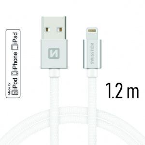 DATOVÝ KABEL SWISSTEN TEXTILE USB / LIGHTNING MFi 1,2 M STŘÍBRNÝ