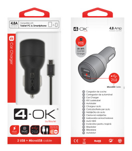 CL ADAPTÉR 4-OK 4.8A POWER NA 2x USB + DATOVÝ KABEL MICRO USB