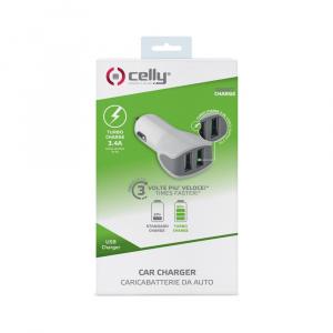 CL autonabíječka CELLY Turbo s 2 x USB výstupem, 3,4 A, bílá