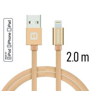 DATOVÝ KABEL SWISSTEN TEXTILE USB / LIGHTNING MFi 2,0 M ZLATÝ