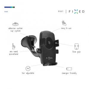 Univerzální držák FIXED FIX1 s přísavkou, pro mobilní telefony a smartphony o šířce 5-7 cm
