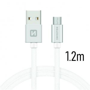 DATOVÝ KABEL SWISSTEN TEXTILE USB / MICRO USB 1,2 M STŘÍBRNÝ