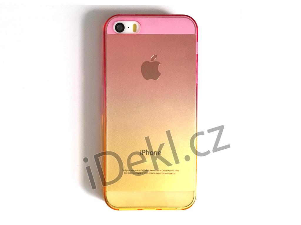 Silikonový kryt iPhone 5S/SE-Růžovo-oranžoví