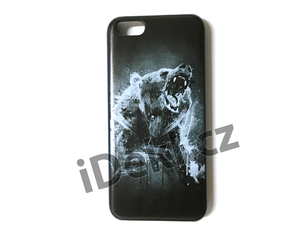Ochranný plastový kryt iPhone 5S/SE-Medvěd černý