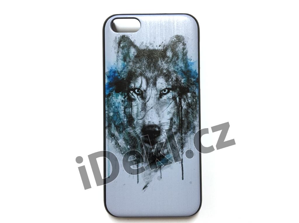 Ochranný plastový kryt iPhone 5S/SE-Vlk bílý