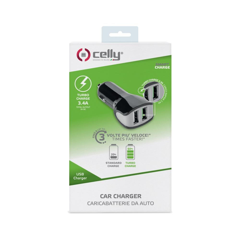 CL autonabíječka CELLY Turbo s 2 x USB výstupem, 3,4 A, černá