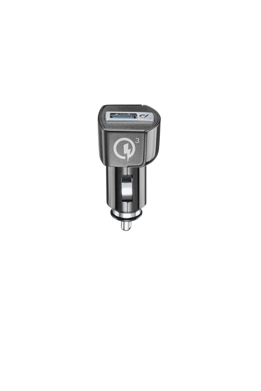 Autonabíječka CellularLine Qualcomm® Quick Charge 3.0, 18W, s USB výstupem, černá