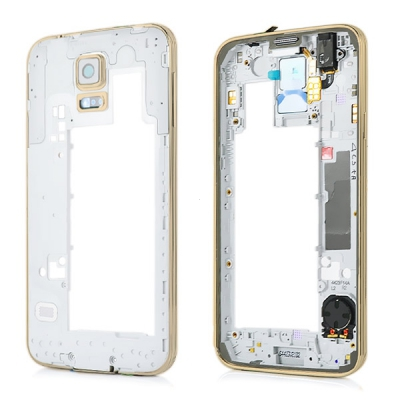 Samsung G900 Galaxy S5 kryt střední - osazený  zlatá