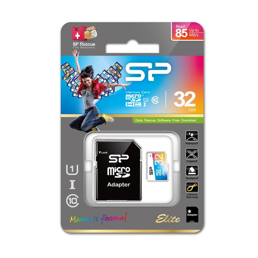 Paměťová karta Silicon Power ELITE COLORFUL microSDHC, UHS-1, C10, 32GB + adaptér SD