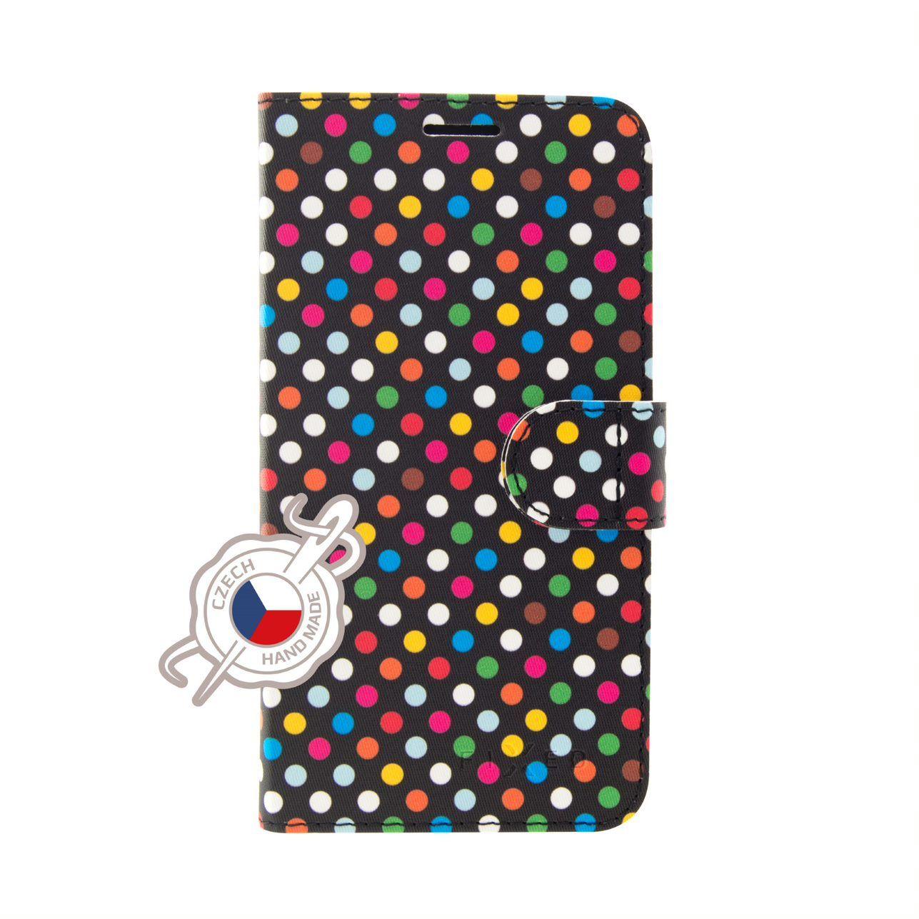 Pouzdro typu kniha FIXED FIT pro Xiaomi Redmi Note 6 Pro, motiv Rainbow Dots