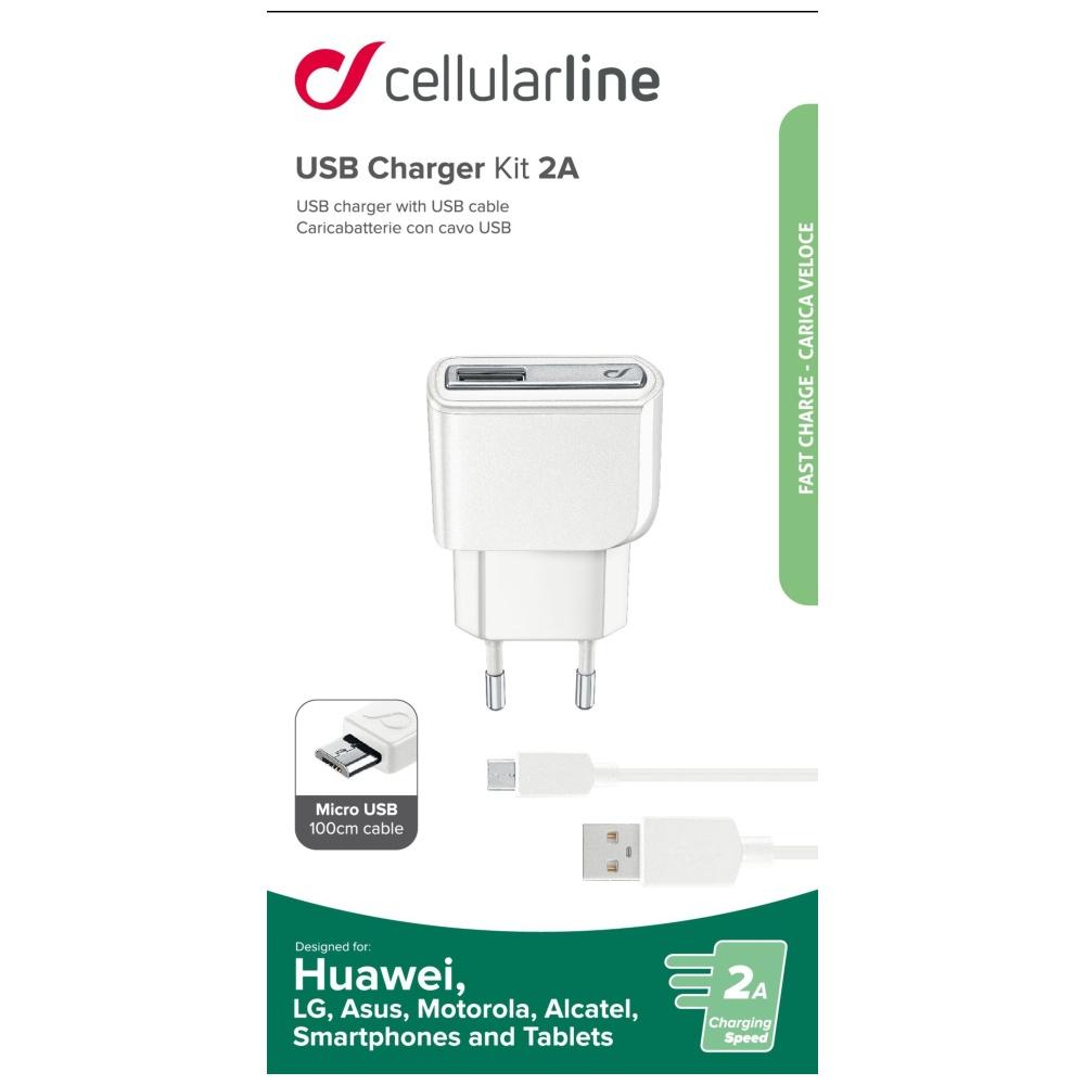 Cestovní nabíječka CellularLine s datovým kabelem a konektorem microUSB, 2A