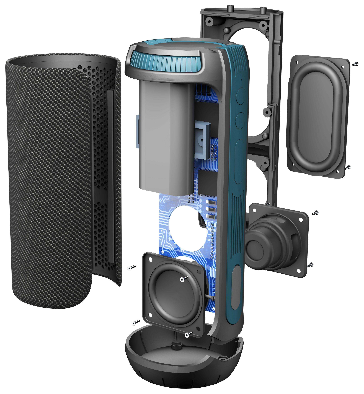 Bezdrátový voděodolný reproduktor CellularLine Twister, 360° zvuk 20 W, AQL® certifikace, černý,rozbaleno