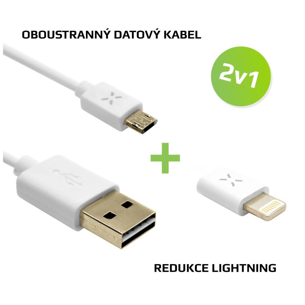 Výhodný balíček FIXED 2v1 pro nabíjení - Oboustranný microUSB datový kabel + Lightning redukce, bílá