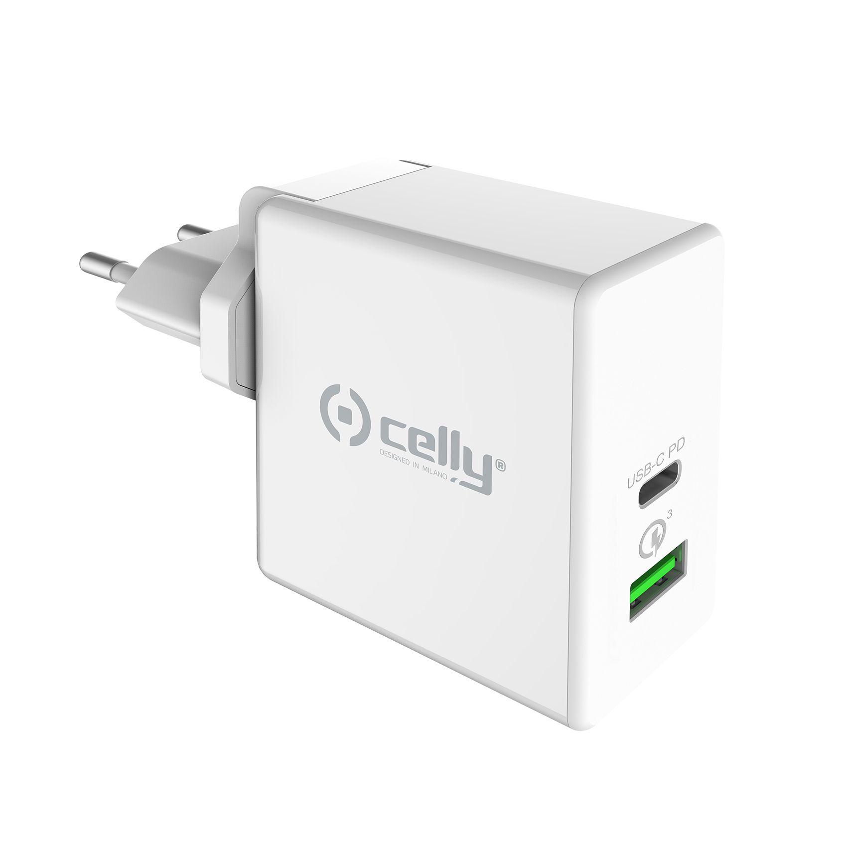 Cestovní nabíječka CELLY PRO POWER s USB-C (PD) a USB portem, Qualcomm Quick Charge 3.0, 45W max, bílá