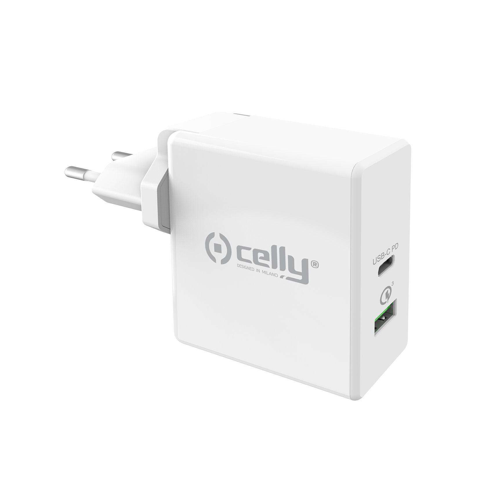 Cestovní nabíječka CELLY PRO POWER s USB-C (PD) a USB portem, Qualcomm Quick Charge 3.0, 30W max, bílá
