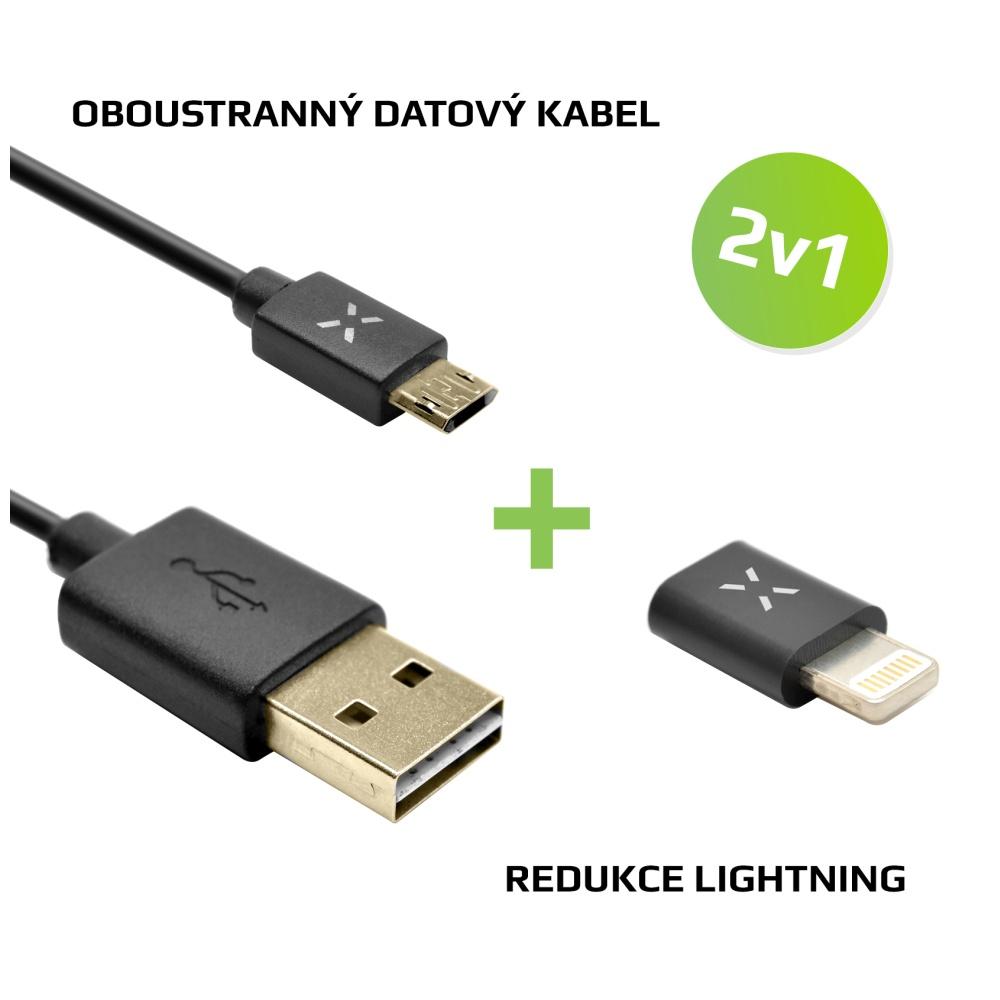 Výhodný balíček FIXED 2v1 pro nabíjení - Oboustranný microUSB datový kabel + Lightning redukce, černá