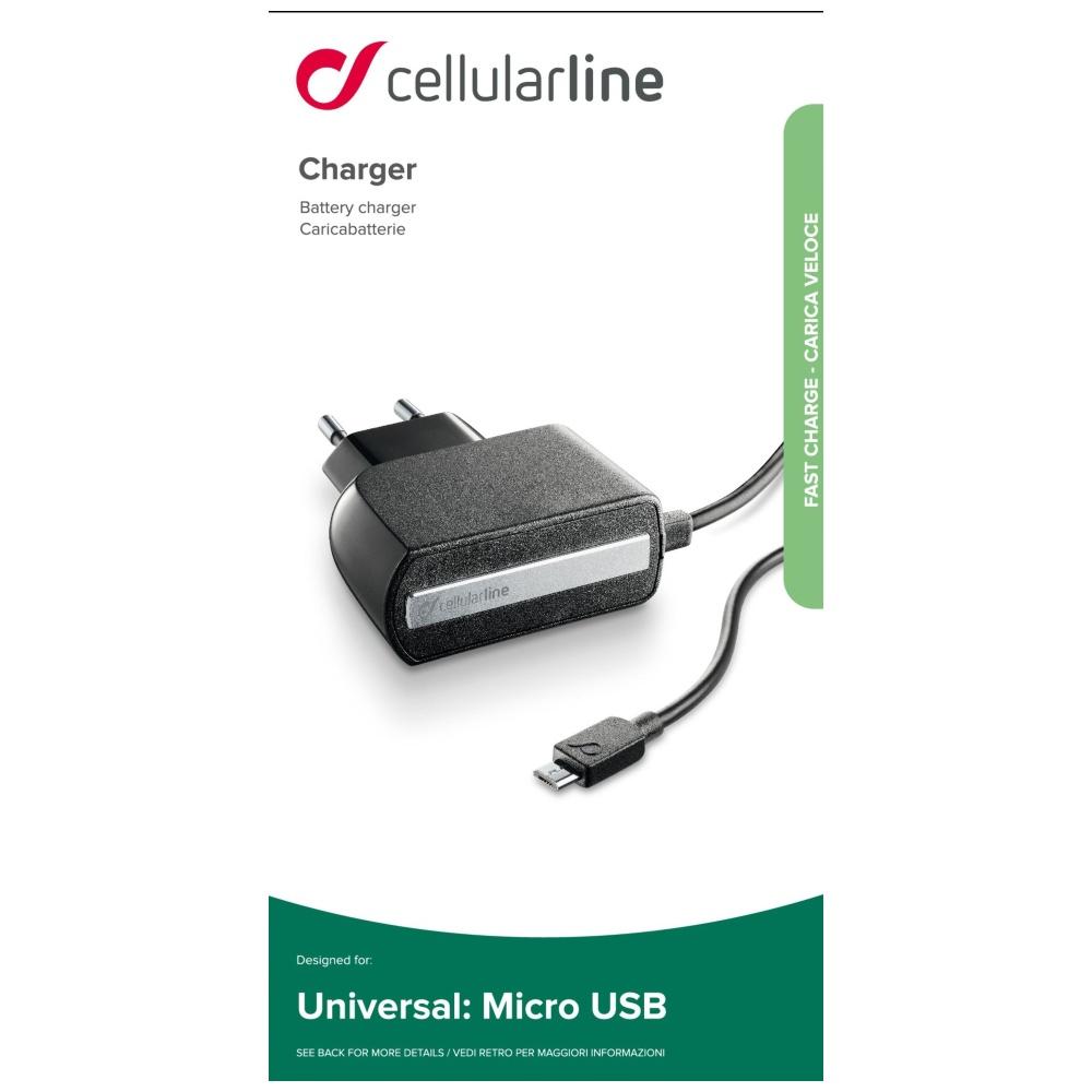 Cestovní nabíječka CellularLine s konektorem microUSB, 2,1A