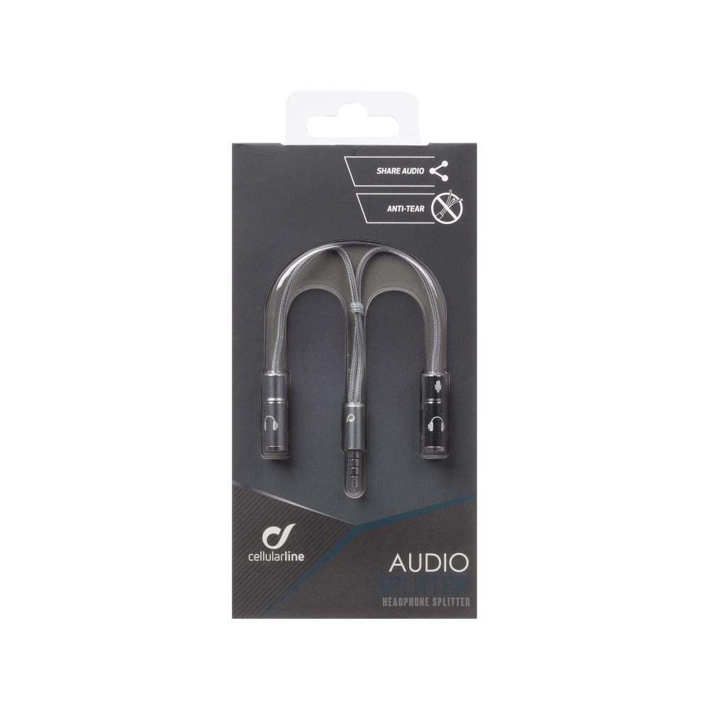 Rozdvojka na sluchátka CELLULARLINE AUDIOSPLITTER, AQL® certifikace, 3,5 mm jack, stříbrná