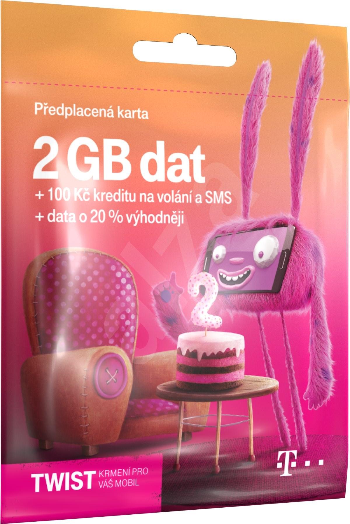 PŘEDPLACENÁ T-MOBILE TWIST SIM KARTA - 2GB - kredit 100 Kč