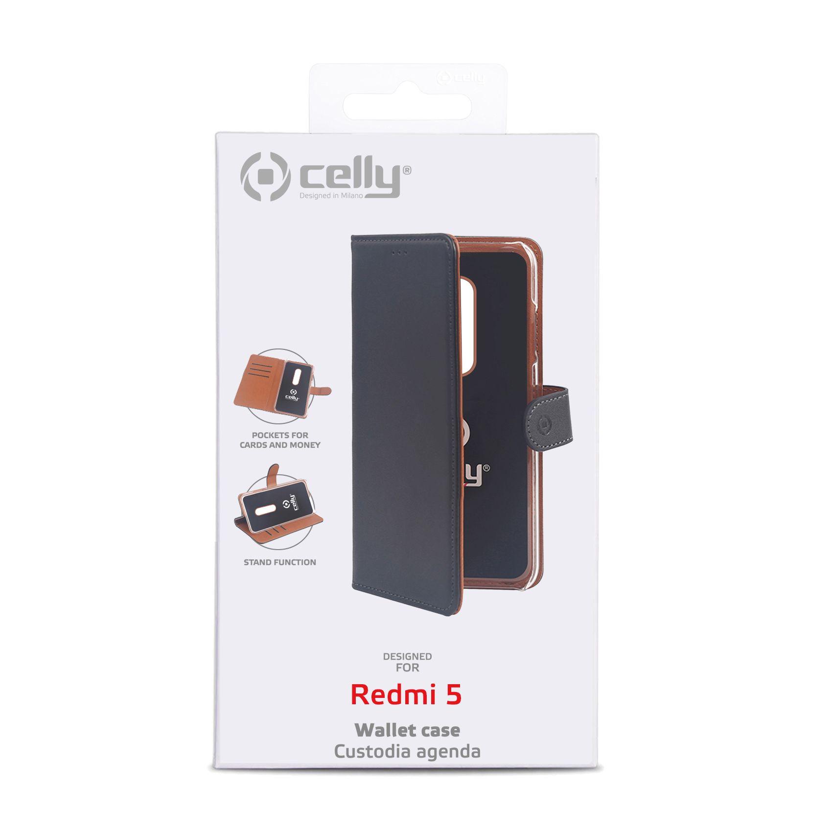 Pouzdro typu kniha CELLY Wally pro Xiaomi Redmi 5, PU kůže, černé