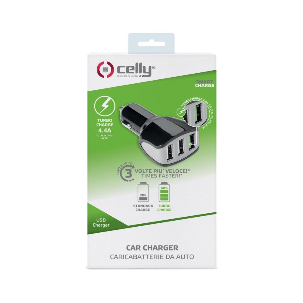 CL autonabíječka CELLY Turbo s 3 x USB výstupem, 4,4 A, černá