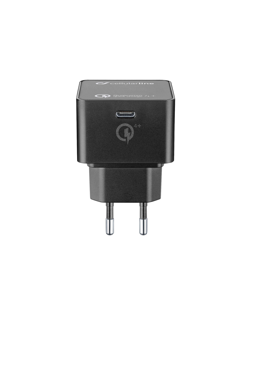 USB-C síťová nabíječka CellularLine, max. 30 W, Qualcomm® Quick Charge™ 4+, černá