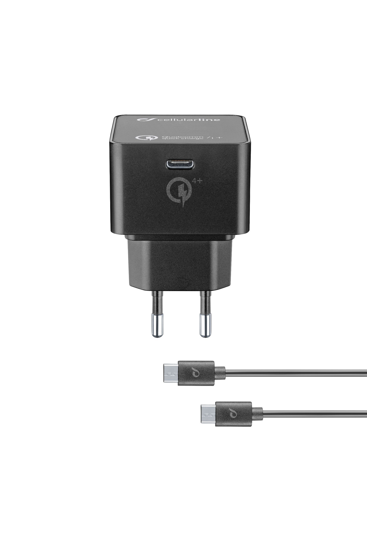 Set USB-C síťové nabíječky CellularLine a 1m kabelu s konektory USB-C, max. 30 W, Qualcomm® Quick Charge™ 4+, černý