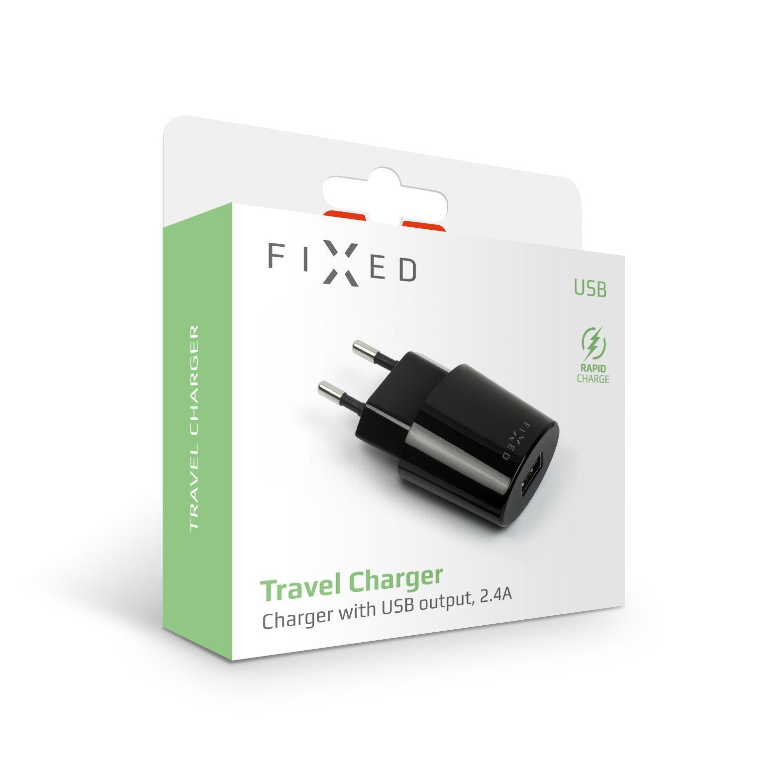 Síťová nabíječka FIXED s USB výstupem, 2,4A, černá