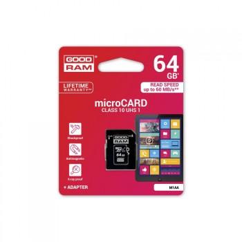 GOODRAM PAMĚŤOVÁ KARTA MICRO SDXC 64GB CLASS 10 UHS-1 - M1AA-0640R11