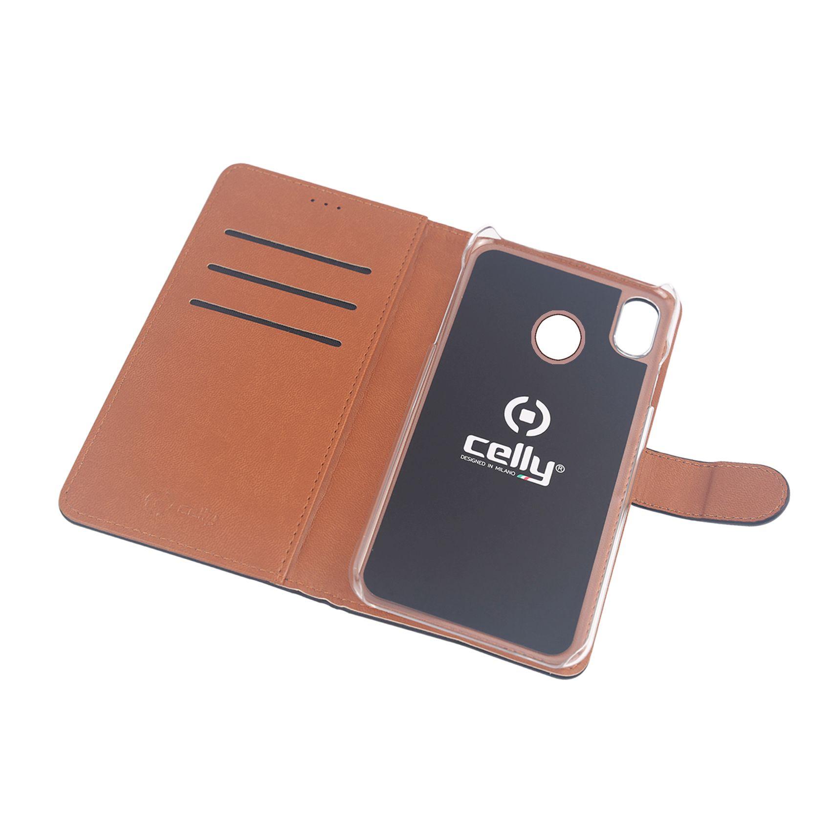 Pouzdro typu kniha CELLY Wally pro Xiaomi Mi 8, PU kůže, černé
