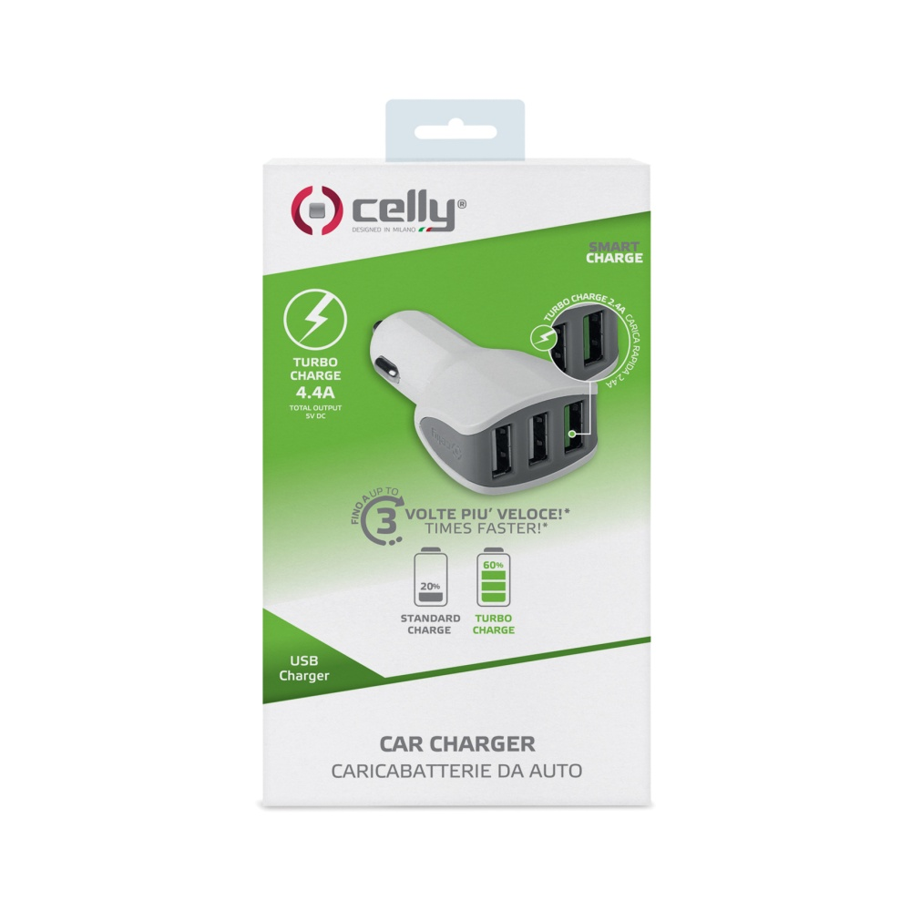 CL autonabíječka CELLY Turbo s 3 x USB výstupem, 4,4 A, bílá