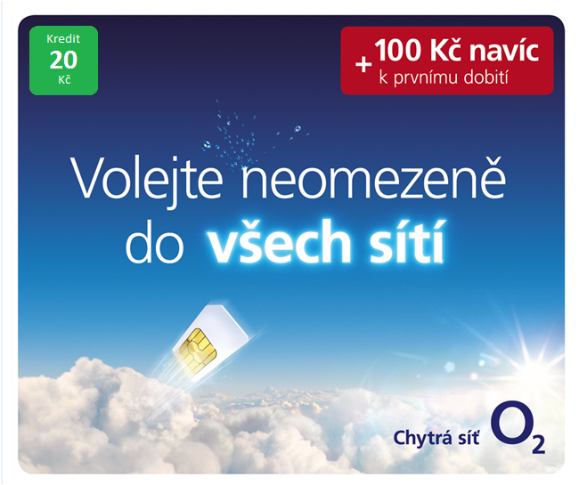 O2 GO SIM KARTA - kredit 20,- Kč Tarif PŘEDPLADENKA