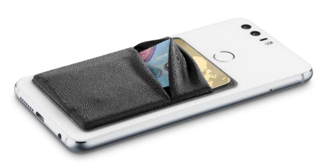 Prodejní papírový stojánek s 10 ks samolepících kapsiček na mobilní telefon, 4 barvy