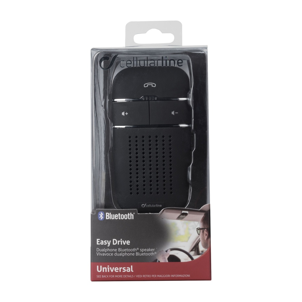 Přenosné handsfree na stínítko CELLULARLINE EASY DRIVE, Multipoint, BT 4.0, DSP, černé