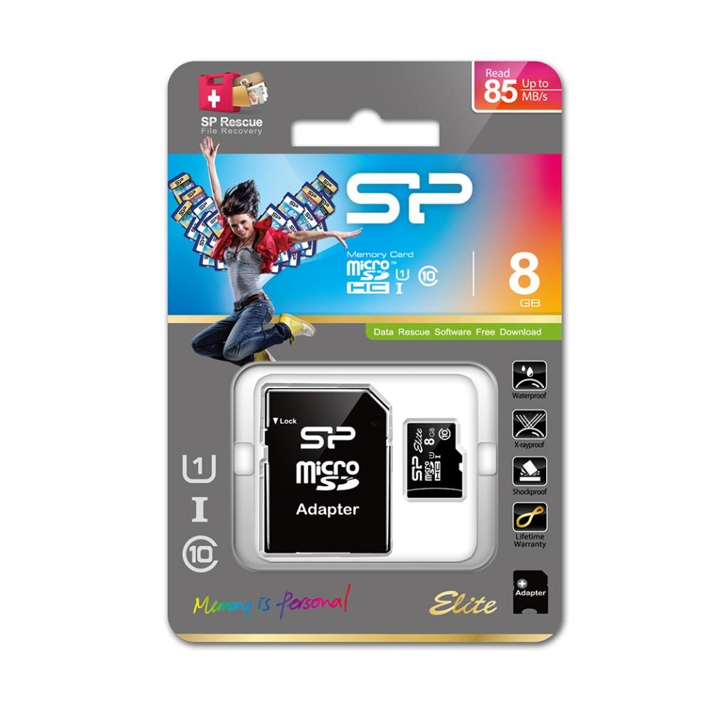 Paměťová karta Silicon Power ELITE COLORFUL microSDHC, UHS-1, C10, 8GB + adaptér SD