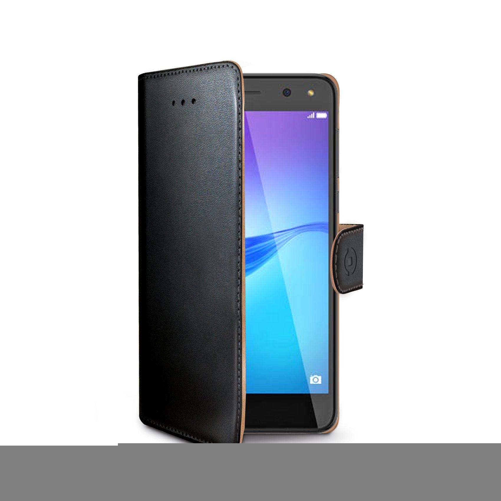 Pouzdro typu kniha CELLY Wally pro Huawei Y6 (2017), PU kůže, černé