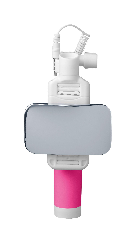 Teleskopická selfie tyč CellularLine Total View s otočným zrcátkem, růžová