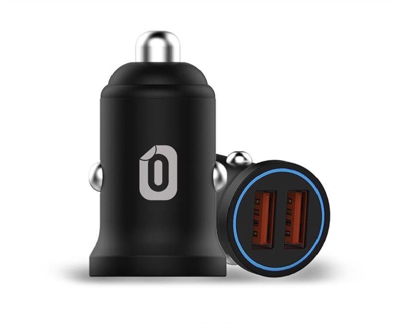 Odzu Car Charger Mini with 2x QC 3.0, black