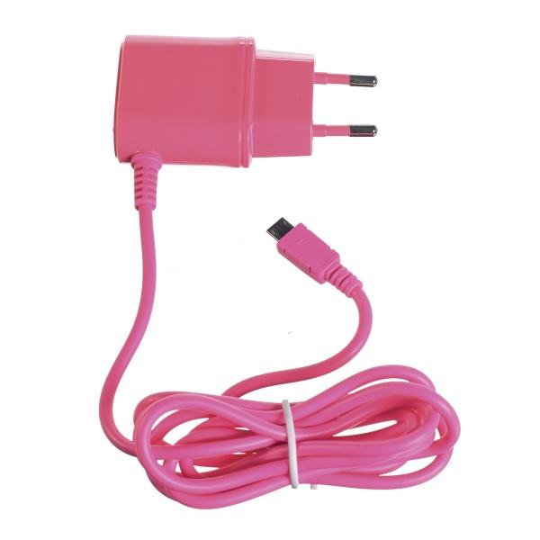 Cestovní nabíječka CELLY s konektorem microUSB, 1A, růžová, blister