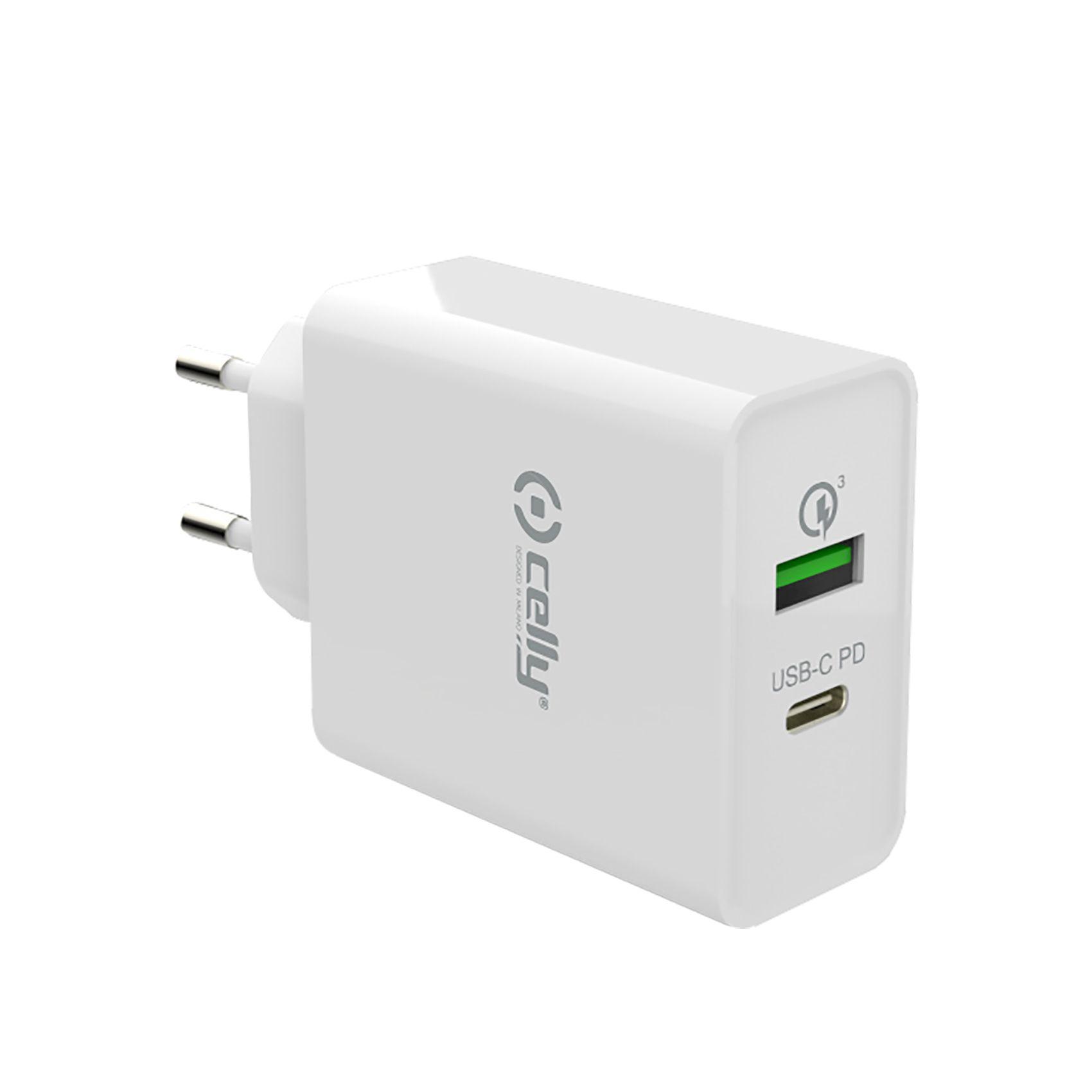 Cestovní nabíječka CELLY PRO POWER s USB-C (PD) a USB portem, Qualcomm Quick Charge 3.0, 18W max, bílá