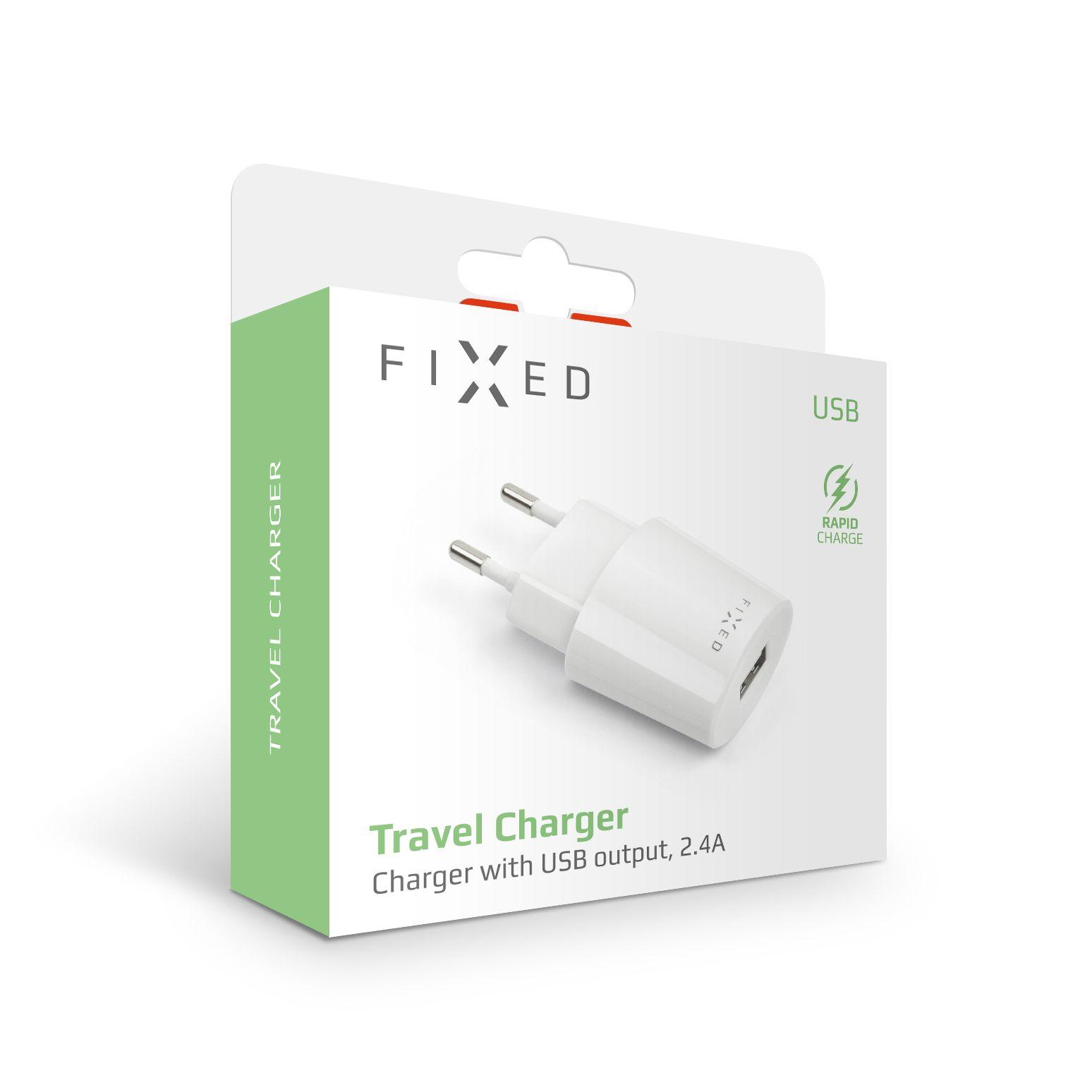 Síťová nabíječka FIXED s USB výstupem, 2,4A, bílá