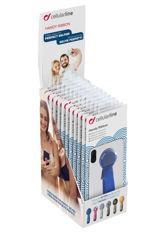 Prodejní papírový stojánek s 10 ks prstýnků se stuhou pro mobilní telefony, různé barvy
