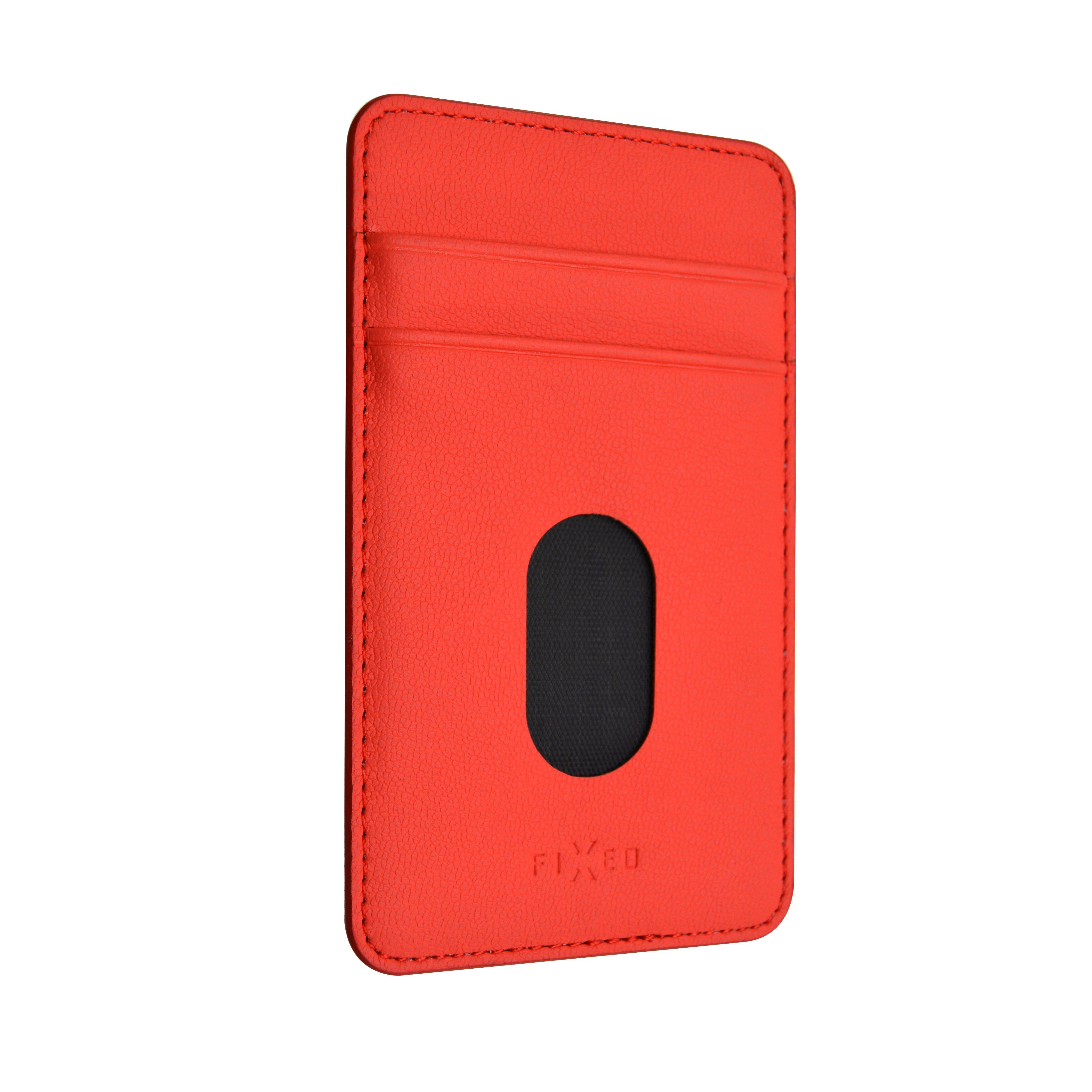 Nalepovací kapsa FIXED Caddy pro 2 kreditní karty, PU kůže, červená